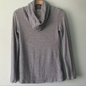 MASON JULES NAVY AND WHITE STRIPED COWL NECK